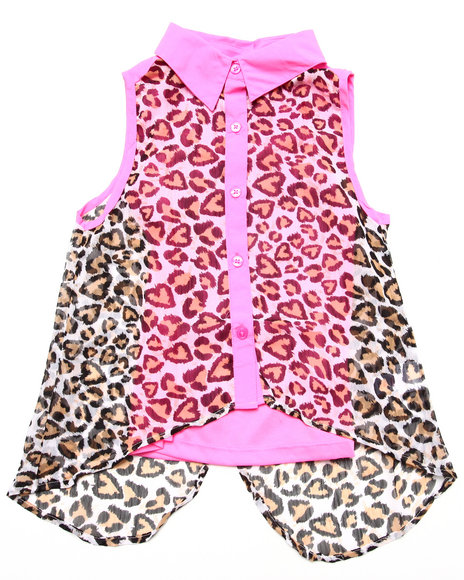 Dollhouse - Girls Pink Sleeveless Leopard Chiffon Top (7-16)