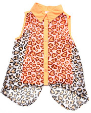 Tops - SLEEVELESS LEOPARD CHIFFON TOP (7-16)