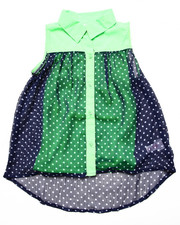Tops - SLEEVELESS POLKA DOT CHIFFON TOP (7-16)