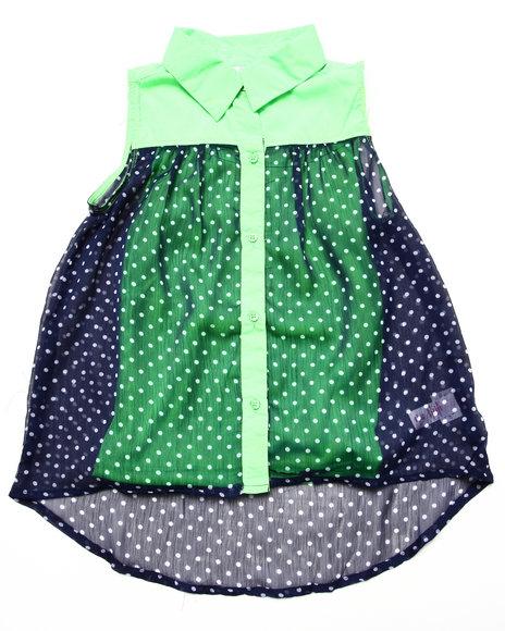 Dollhouse - Girls Green Sleeveless Polka Dot Chiffon Top (7-16) - $5.99