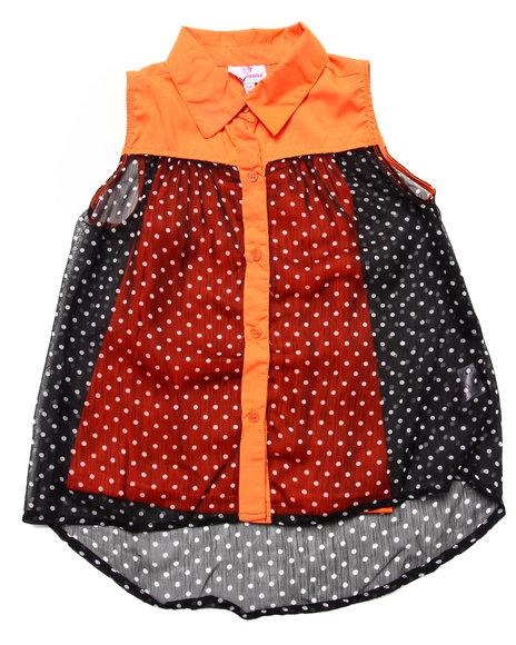Dollhouse - Girls Orange Sleeveless Polka Dot Chiffon Top (7-16)