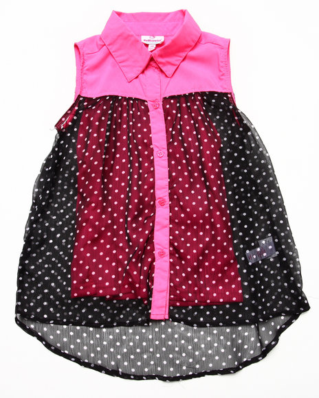 Dollhouse - Girls Pink Sleeveless Polka Dot Chiffon Top (7-16)