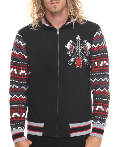 Stall & Dean - Men Black Chief Varsity Jacket W/ Pattern Sleeves (M-5X)