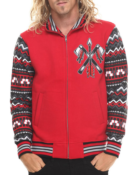 Stall & Dean - Men Red Chief Varsity Jacket W/ Pattern Sleeves (M-5X)