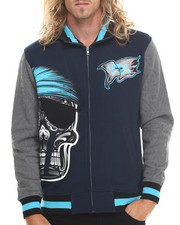 Stall & Dean - Skull Varsity Fleece Full Zip Jacket