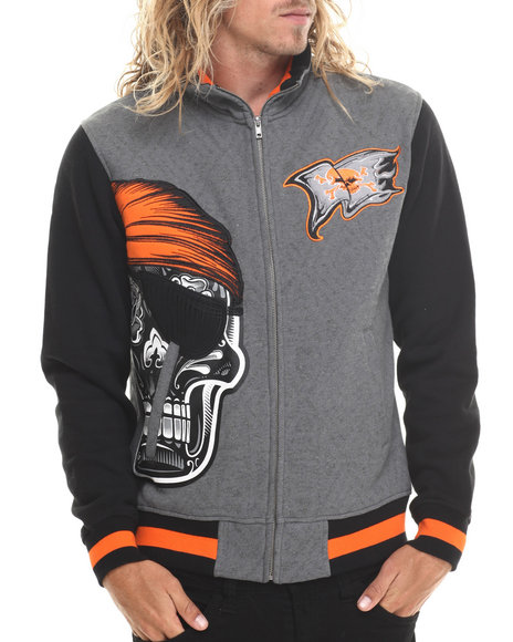 Stall & Dean - Men Grey Skull Varsity Fleece Full Zip Jacket