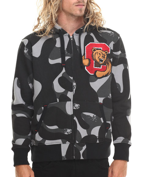 Stall & Dean - Men Camo Ivy League Chenille Camo Full Zip Hoody