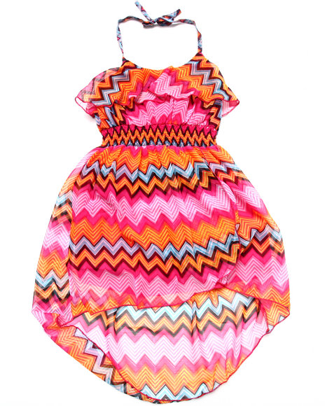 Dollhouse - Girls Orange Striped Halter Dress (4-6X) - $10.99