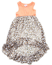 Girls - KNIT & LEOPARD CHIFFON DRESS (4-6X)