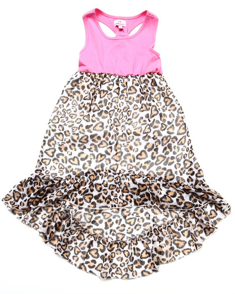 Dollhouse - Girls Pink Knit & Leopard Chiffon Dress (4-6X)