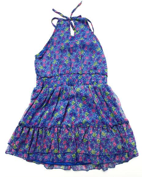 Dollhouse - Girls Blue Floral Chiffon Dress (7-16)
