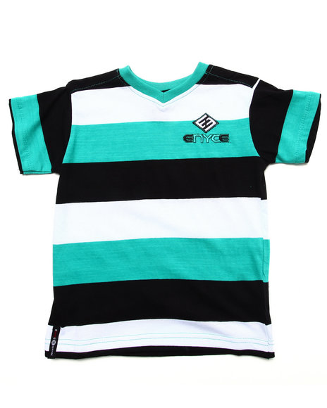Enyce - Boys Teal Striped V-Neck Tee (4-7)