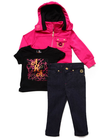 Akademiks - Girls Pink 3Pc Set-Tee, Jeans & Hooded Sweatshirt (12-24 Mos) - $21.99