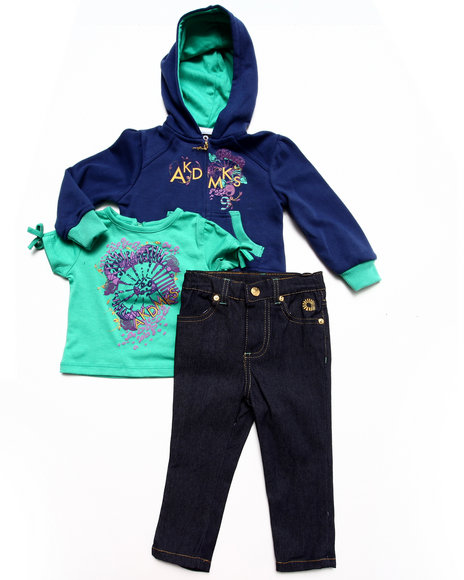 Akademiks - Girls Blue 3 Pc Set-Hoody, Tee & Jeans (Infant) - $21.99