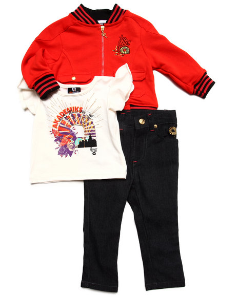 Akademiks - Girls Red 3 Pc Set- Jacket, Tee & Jeans (Infant) - $20.99