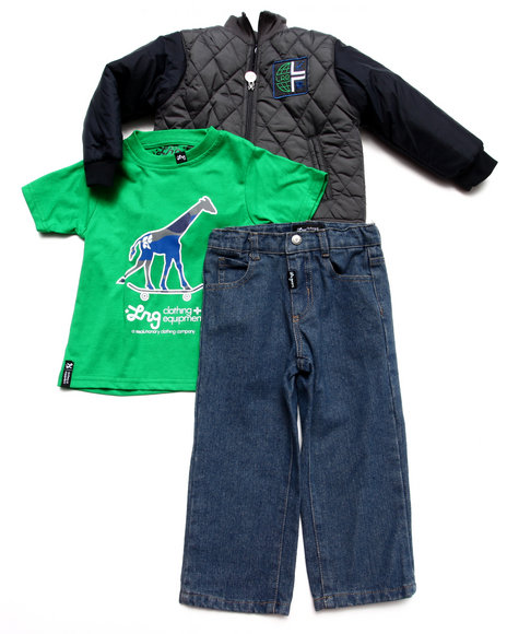 LRG - Boys Multi 3 Pc Set - Track Jacket, Tee, & Jeans (2T-4T)