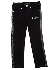 Girls - FAUX LEATHER TRIM JEANS (4-6X)