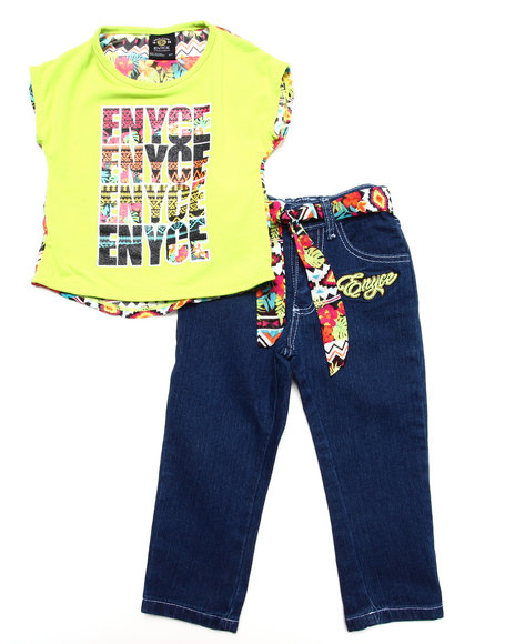 Enyce - Girls Lime Green 2 Pc Aztec Set (2T-4T)