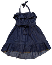 Girls - RUFFLE CHAMBRAY DRESS (4-6X)