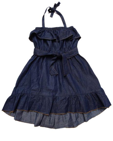 Dollhouse - Girls Dark Wash Ruffle Chambray Dress (4-6X)