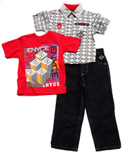 Boys - 3 PC SET - SOLID WOVEN, TEE, & JEANS (2T-4T)