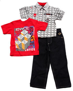 Enyce - 3 PC SET - SOLID WOVEN, TEE, & JEANS (2T-4T)