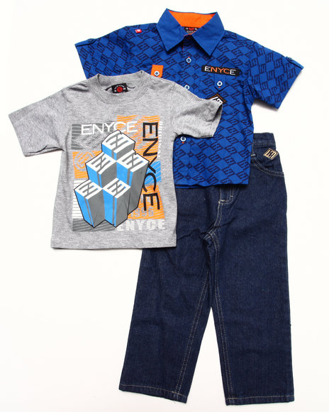 Enyce - Boys Blue 3 Pc Set - Solid Woven, Tee, & Jeans (2T-4T)