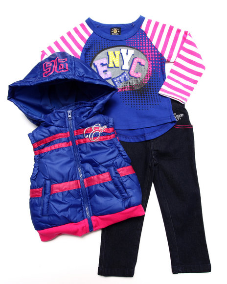 Enyce - Girls Purple 3 Pc Set - Hooded Vest, Tee, & Jeans (2T-4T)