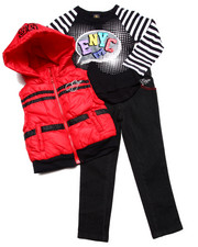 Sizes 4-6x - Kids - 3 PC SET - HOODED VEST, TEE, & JEANS (4-6X)