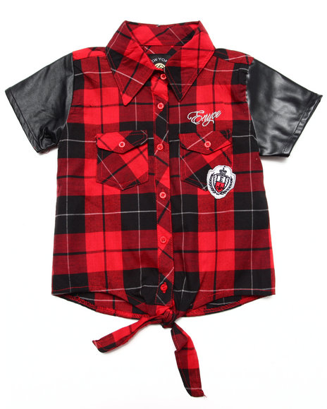 Enyce - Girls Red Plaid Tie Front Top (7-16)