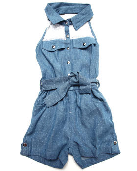Dollhouse - DENIM HALTER ROMPER W/ LACE YOKE (4-6X)