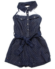 Sizes 7-16 - Big Kids - DENIM HALTER ROMPER W/ LACE YOKE (7-16)