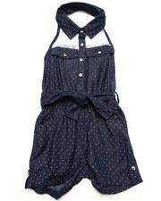 Girls - DENIM HALTER ROMPER W/ LACE YOKE (4-6X)