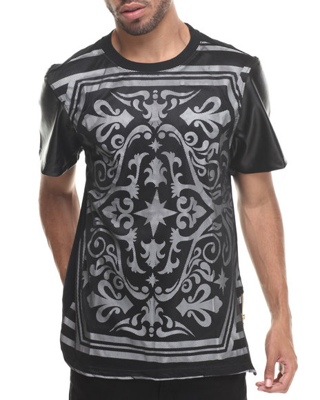 Buyers Picks - Men Black All Over Royal Print W/ Mesh Overlay S/S Tee