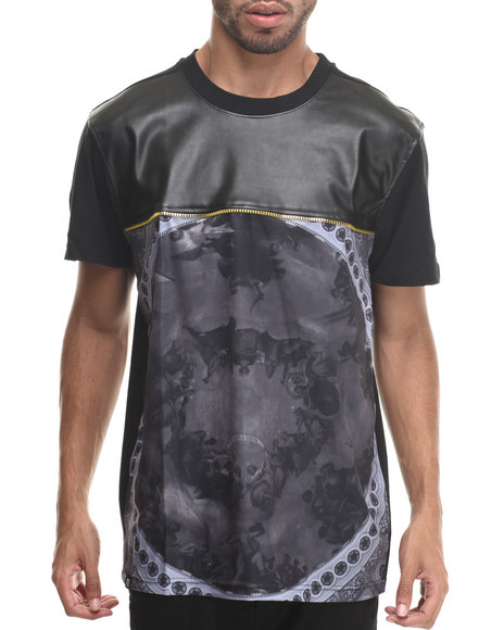 Buyers Picks - Men Black Sky's The Limit Sublimation/Faux Leather S/S Tee