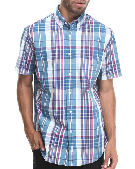 Nautica - Men Blue Vineyard Poplin S/S Button-Down