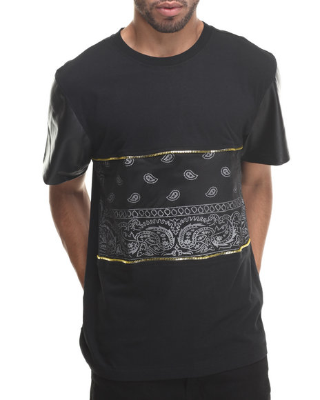 Buyers Picks - Men Black True Colors Bandana Print W/ Mesh Overlay S/S Tee