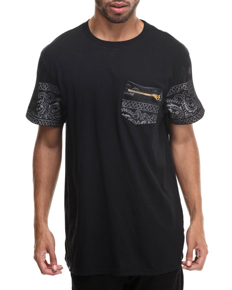 Buyers Picks - Men Black True Colors 2 Bandana Print W/ Mesh Sleeve Detail S/S Tee