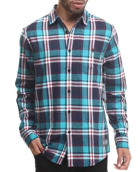 Famous Stars & Straps - Men Navy Reap Long Sleeve Flannel Shirt