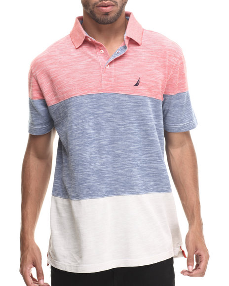 Nautica - Men Red Color Block Polo