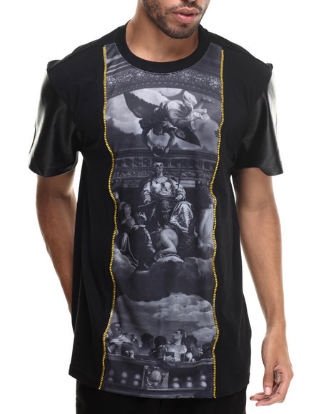 Buyers Picks - Men Black Gods Be Chillin Sublimation/Faux Leather S/S Tee
