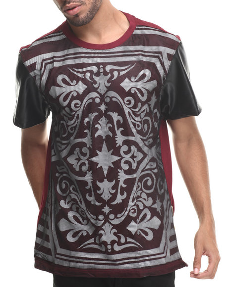 Buyers Picks - Men Maroon All Over Royal Print W/ Mesh Overlay S/S Tee