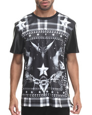 Men - Stars & Stripes Sublimation/faux leather S/S Tee