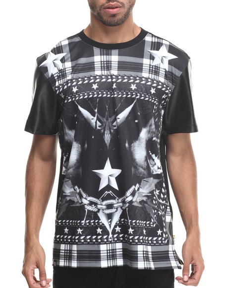 Buyers Picks - Men Black Stars & Stripes Sublimation/Faux Leather S/S Tee