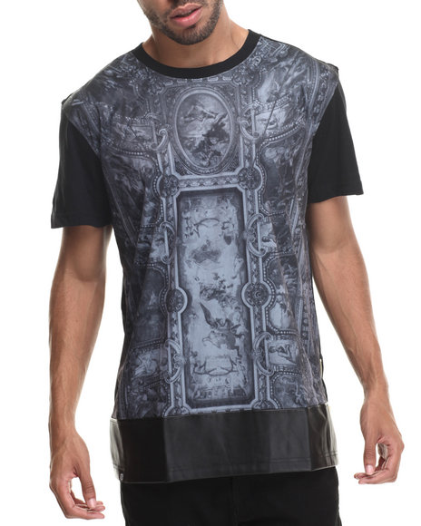 Buyers Picks - Men Black Gods Of War Sublimation/Faux Leather S/S Tee