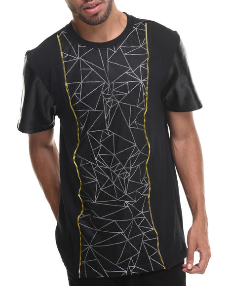 Buyers Picks - Men Black Marble Mesh Overlay S/S Tee