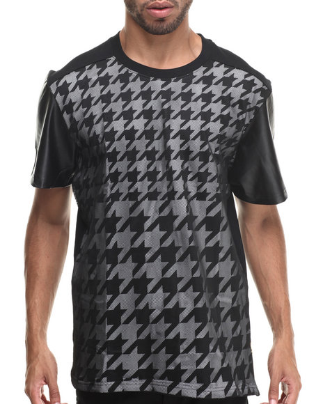 Buyers Picks - Oversized Houndstooth S/S Tee w/ Side Zipper & faux leather sleeves