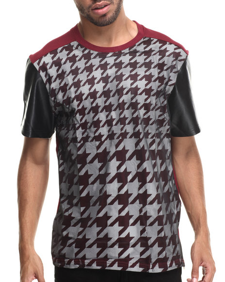 Buyers Picks - Men Maroon Oversized Houndstooth S/S Tee W/ Side Zipper & Faux Leather Sleeves - $26.99