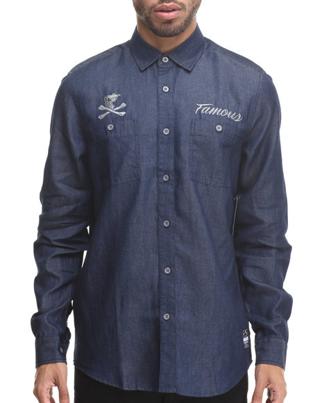 Famous Stars & Straps - Men Blue Wrench Denim Chambray Woven Shirt