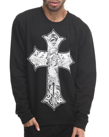 Famous Stars & Straps - Men Black Franco Rise Above Crewneck Sweatshirt - $31.99